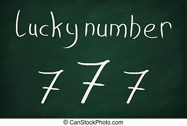 On the blackboard write Lucky number and 777