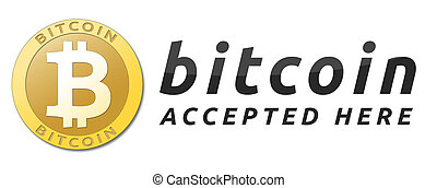 We accept bitcoins. Golden bitcoin virtual currency.