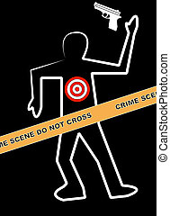 body with gun and target on person - body outline with gun...