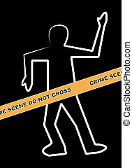 dead body outline with crime scene do not cross banner
