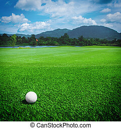 Golfball on course - Golfball on grass of golf course at...