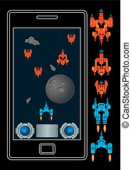 Space shooter mobile - Vector game assets for mobile space...