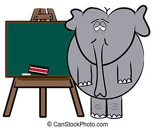elephant teacher standing at chalkboard