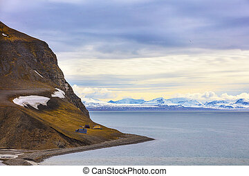 Houses and mountains in arctic summer landscape - Houses in...