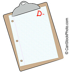 clipboard with lined paper marked with D