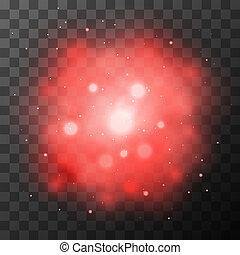 Red bright light, magic effect in the dark