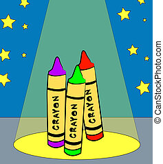 colorful crayons dancing in the spotlight