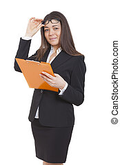Businesswoman reading some documents - Businesswoman with a...