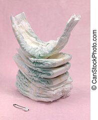 Disposable Nappies - A stack of modern disposable nappies...