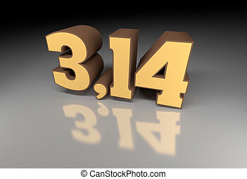 Pi number (3,14) 3d image with reflection