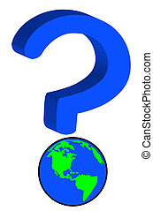 earth or globe as part of question mark - global uncertainty