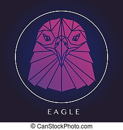 Eagle head logo - Eagle head triangular element logo,...
