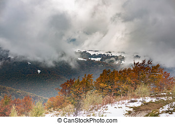 The slope with snow and beautiful, colorful autumn trees