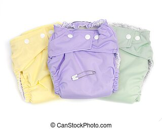 Cloth Nappies - Modern cloth nappies isolated against a...