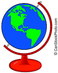 globe of world on red stand