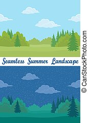 Summer Forest, Seamless Landscapes - Set of Horizontal...