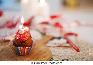 gostoso, aniversário, Cupcake, com, vela, ligado, a, tabela,...