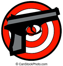 hand gun with red and white target