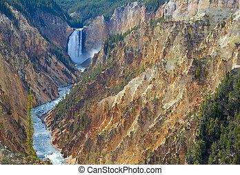 Yellowstone canyon - Waterfall and canyon in the Yellowstone...