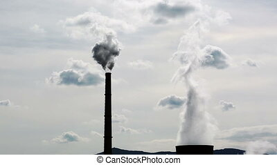Power Plant Smokestacks Smoking, He - Power Station Chimney...