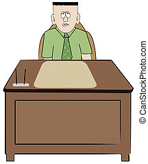 frustrated overworked business man sitting at his desk