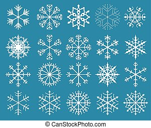 Vector Set of White Snowflakes - A collection of Christmas...