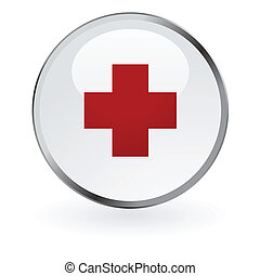 Red cross glossy button - Editable vector glossy red cross...