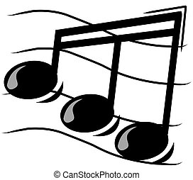 musical note on staff - illustration