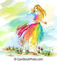 Watercolor spring running girl at light chiffon dress - The...
