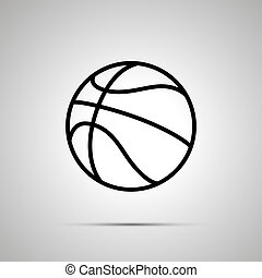 Basketball ball simple black icon with shadow