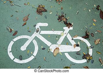 Autumn bike - Draw Autumn bike in bikeway. Salamanca,...