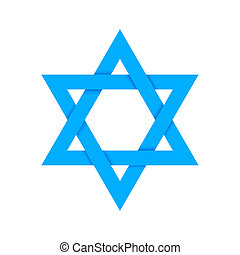 Blue star of David with shadow isolated on white - Blue star...