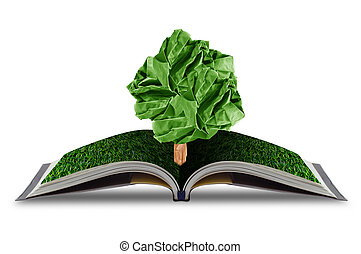 ree paper growing from book with grass on white background, concept conservation of the environment, environmental protection