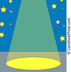 spot light on center stage with stars in the background