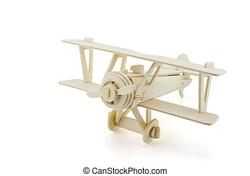 Wood airplane isolated on white with clipping path