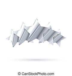 Five glossy silver rating stars isolated on white - Five...
