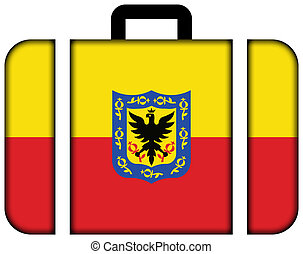 Flag of Bogota, Colombia. Suitcase icon, travel and...