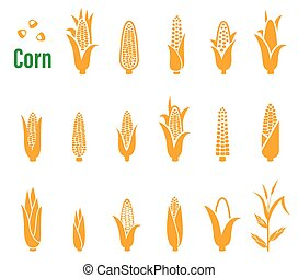 Vector set of icons and logos with corn on a white...