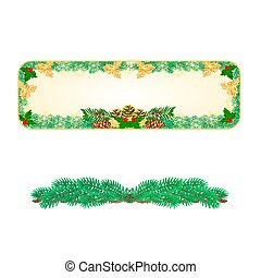Banner Christmas with pinecones holly and yew vector.eps -...
