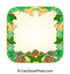 Button square Christmas with pinecones holly and yew...