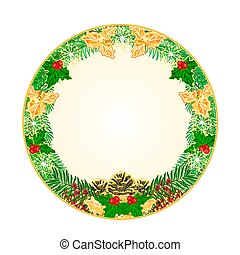 Button circular Christmas with pinecones holly and yew...