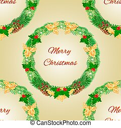 Seamless texture Merry Christmas wreath with pinecones holly...