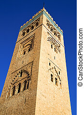 maroc and the blue sky - in maroc africa minaret and the...