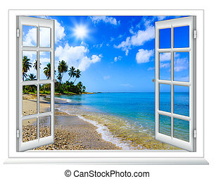 Ocean view window - beach view from the window on the island...