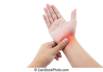 Close up view of male hand with wrist pain. Isolated on...