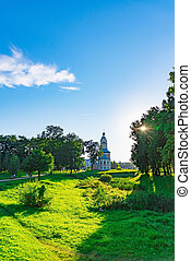 view on an orthodox temple with domes of windows - view from...