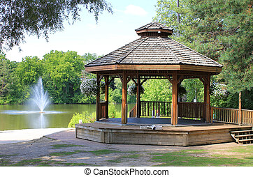 Gazebo - Inviting gazebo in park with nice view to the lake