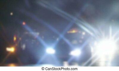 Night road lights. Defocused night traffic lights-Bangkok -...
