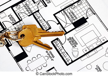 Real estate ownership - Keys on a floorplan concepts of real...