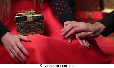 Male and female hands caressing with love - Close up male...